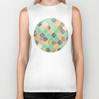bedding Biker Tanks featuring Charcoal, Mint, Wood & Gold Moroccan Pattern by micklyn