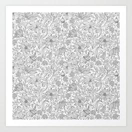 Bells Flower - BUTTERFLIES - CAMPANULA GRAY Art Print