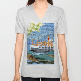 EDMONDS, WASHINGTON the town and the adventures by Seattle Artist Mary Klump Unisex V-Neck