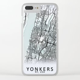 Yonkers, NY, USA, White, City, Map Clear iPhone Case