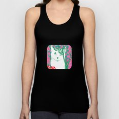 flower and cat Unisex Tank Top