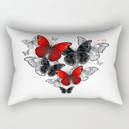 Realistic Black and Red Morpho Butterflies Rectangular Pillow