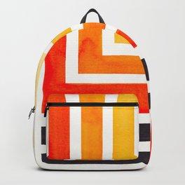 Orange Mid Century Modern Watercolor Colorful Ancient Aztec Art Pattern Minimalist Geometric Pattern Backpack