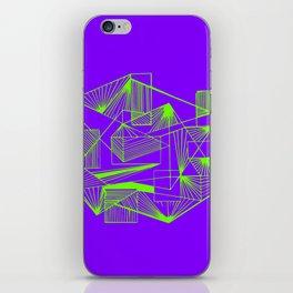 Geometric futuristic purple green abstract iPhone Skin