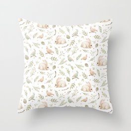 Cute Bunny patterns Throw Pillow