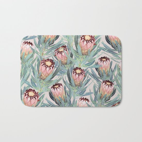 Pale Painted Protea Neriifolia Bath Mat