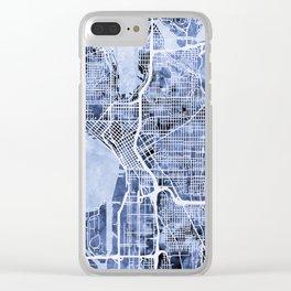 Seattle Washington Street Map Clear iPhone Case