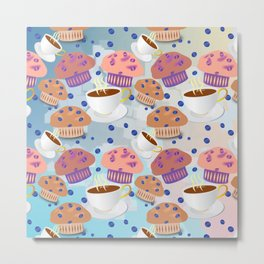 Muffins and Coffee Metal Print
