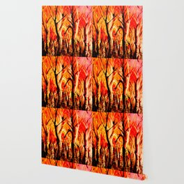 Dark Burning Forest Wallpaper