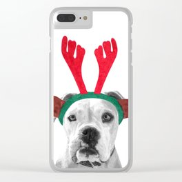 Black and White Boxer Christmas Clear iPhone Case