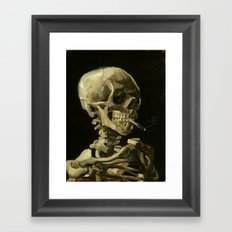 Skull of a Skeleton with Burning Cigarette by Vincent van Gogh Framed Art Print