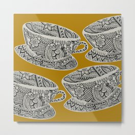 Morning Cuppa! - tea coffee lover zentangle Metal Print