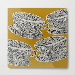 Morning Cuppa! - tea coffee lover zentangle Metal Print