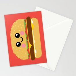 Happy Pixel Hamburger Stationery Cards