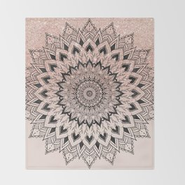 Boho black watercolor floral mandala rose gold glitter ombre pastel blush pink Throw Blanket