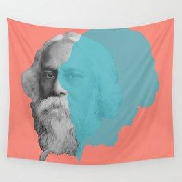 Rabindranath Tagore portrait - orange blue Wall Tapestry