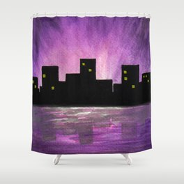 Silhouette buildings by the lake - Watercolour Art Shower Curtain