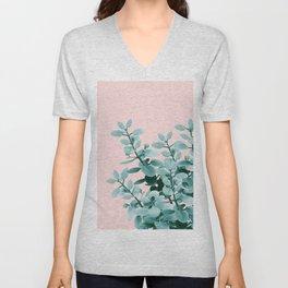 Eucalyptus Leaves Green Blush Vibes #1 #foliage #decor #art #society6 Unisex V-Neck