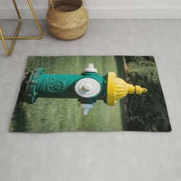 Clow Eddy Valve Div Fire Plug Yellow White and Green Fire Hydrant  Rug