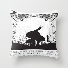 Alice's Adventures In Wonderland Black and White Illustrated Quote Throw Pillow