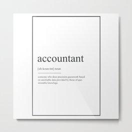 Accountant 538 Watercolor Map Yoga Quote Definitio Metal Print