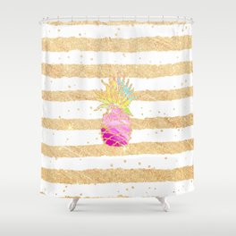 Modern pink watercolor pineapple faux gold glitter stripes Shower Curtain