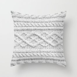 White Knitted Wool Throw Pillow