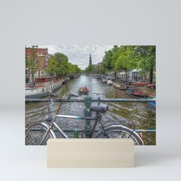 Amsterdam Bridge Canal View Mini Art Print