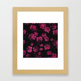 Girly Pink Rustic Floral Roses and Black Pattern Framed Art Print