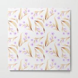Watercolor lilac lavender brown hand painted floral illustration Metal Print