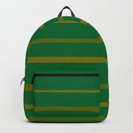 Emerald Green and Honey Gold Thin Stripes Backpack