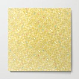 Retro Yellow Swirls 60s Metal Print