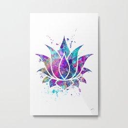 Lotus Flower Watercolor Print Wall Art Wedding Gift Zen decor Metal Print