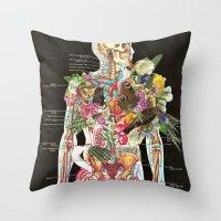 skeleton Throw Pillows featuring Skeleton by Ben Giles