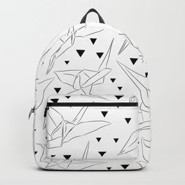 Japanese Origami white paper cranes sketch, symbol of happiness, luck and longevity Backpack