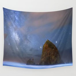 Rocky shore with starry night Wall Tapestry