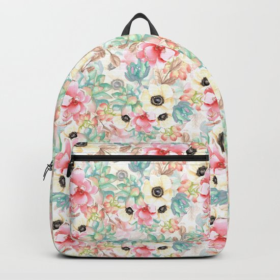 Yellow flowers. Watercolor Backpack
