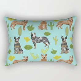 Australian Cattle Dog cactus pet friendly dog breed dog pattern art Rectangular Pillow