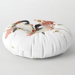 Chickadee Bird Vintage Bird Artwork Floor Pillow