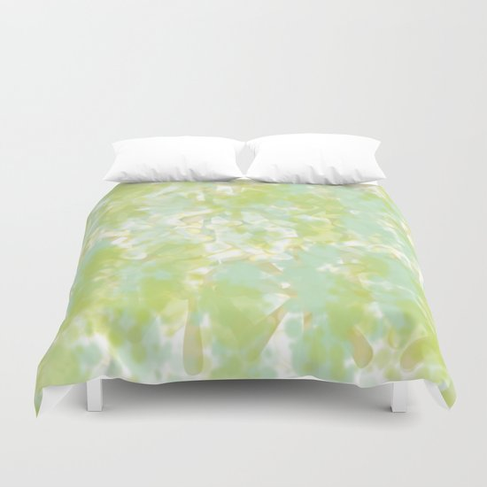 Golden Green Watercolor Abstract Duvet Cover