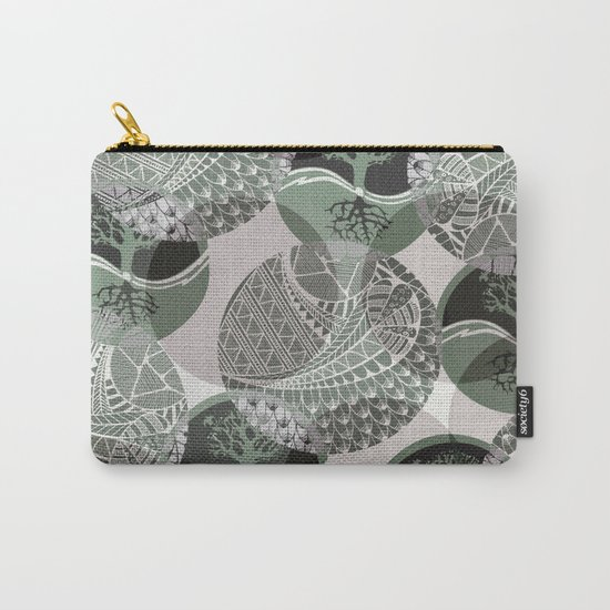 Zentangle and Tree Motifs in Circles Carry-All Pouch