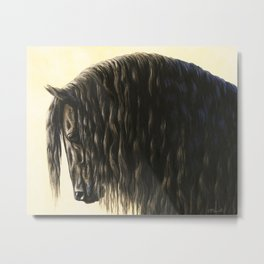 Black Friesian Draft Horse Metal Print