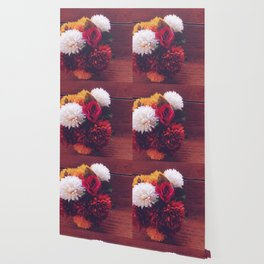 red rose and yellow white and brown flower with wood background Wallpaper