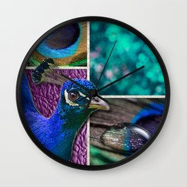 Peacock Feathers & Texture Collage Wall Clock