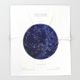 French March Star Map in Deep Navy & Black, Astronomy, Constellation, Celestial Throw Blanket