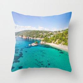 The beach Stafylos of Skopelos island from drone, Greece Throw Pillow
