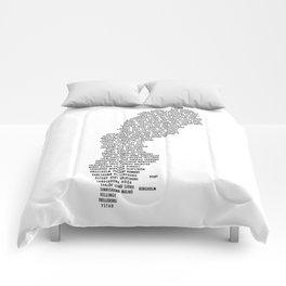 Cities in Sweden - white Comforters