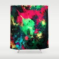 splash Shower Curtains featuring Splash by RIZA PEKER