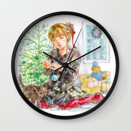 A girl with a kitten at Christmas Time Wall Clock