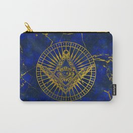 All Seeing Mystic Eye in Masonic Compass on Lapis Lazuli Carry-All Pouch
